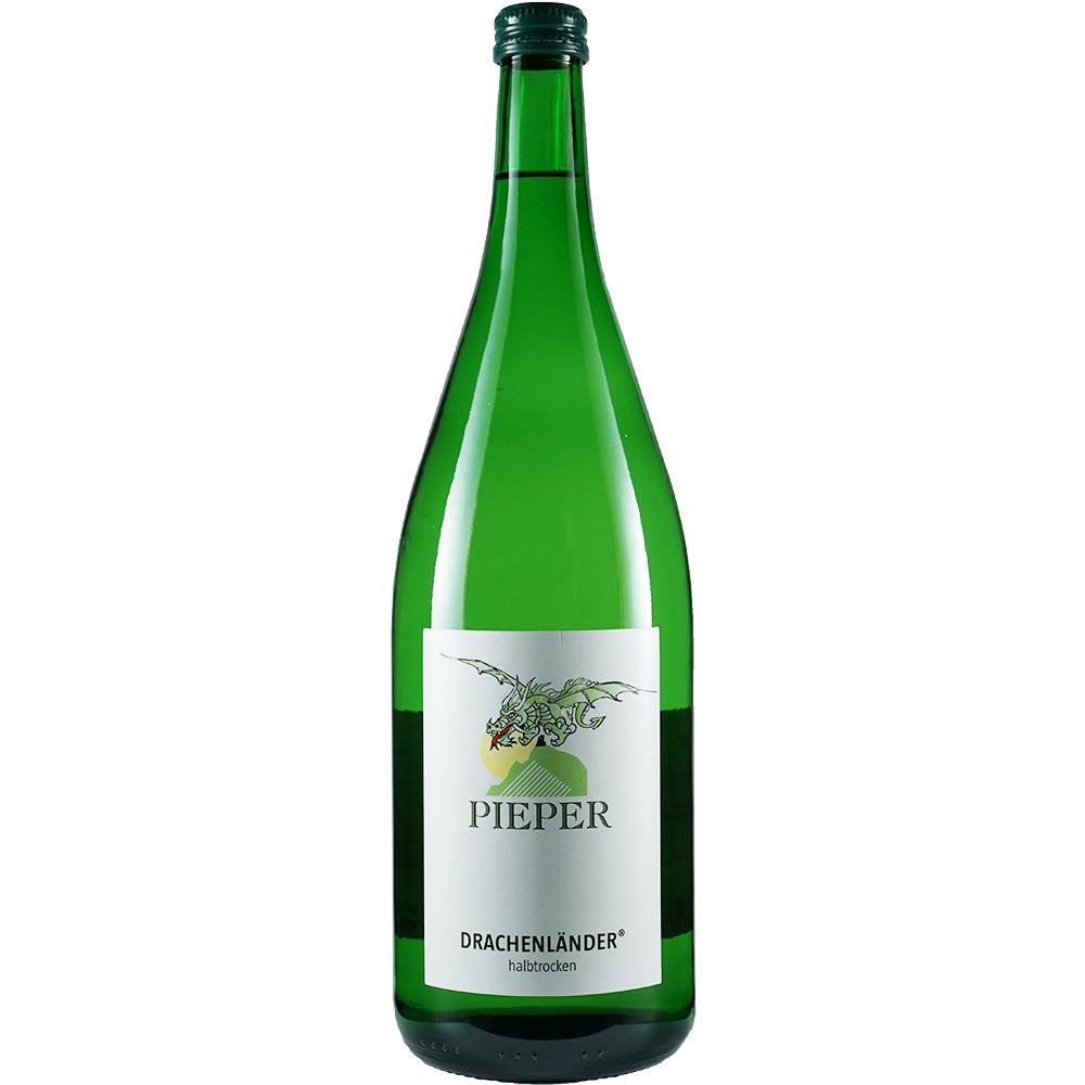 Weinflasche, Drachenländer halbtrocken, Weißwein, Weingut Pieper, Mittelrhein