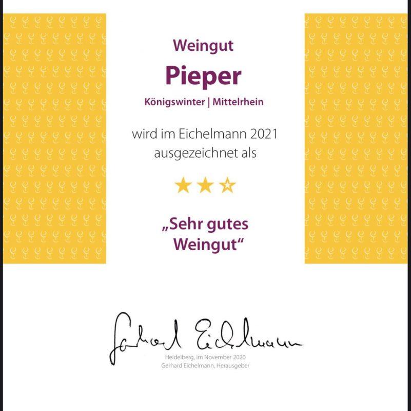Urkunde Eichelmann Weinguide 2021 - Weingut Pieper