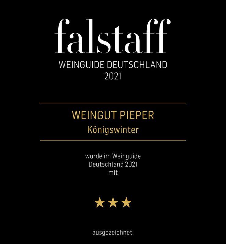 Falstaff Weinguide 2021 zeichnet das Weingut Pieper mit drei Sternen aus (Urkunde)