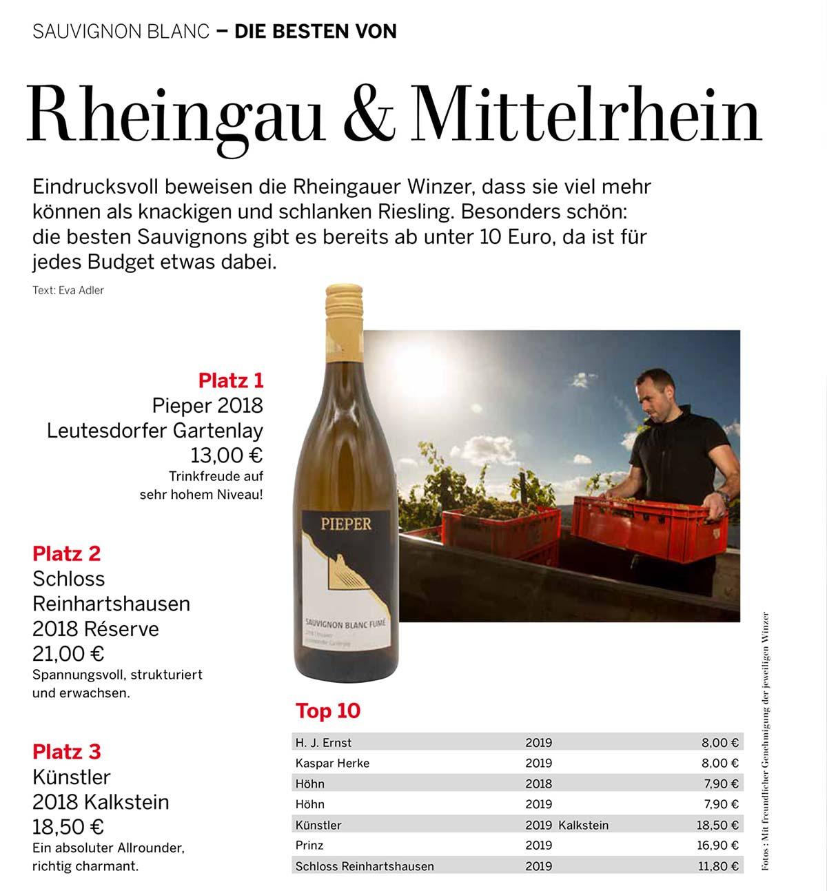 Weingut Pieper Sauvignon Blanc Fumé - erster Platz beim Gault Millau Sauvignon Blanc Tasting 2021