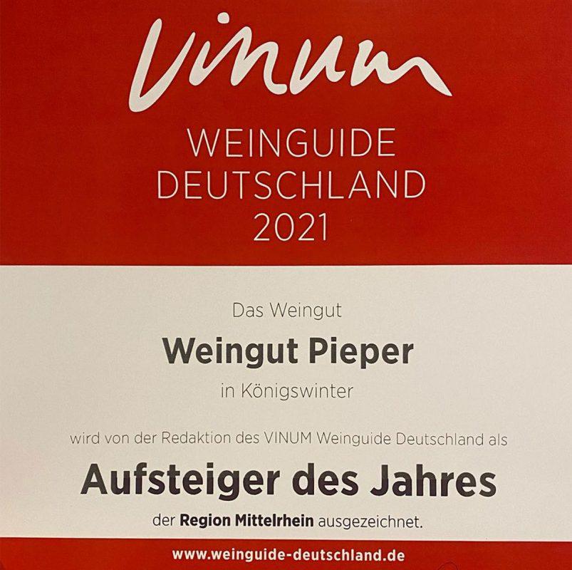 Urkunde VINUM Weinguide 2021 - Weingut Pieper: Aufsteiger des Jahres Mittelrhein
