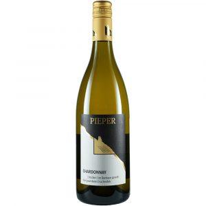 Weinflasche, Chardonnay Barrique trocken, Weißwein, Weingut Pieper, Mittelrhein
