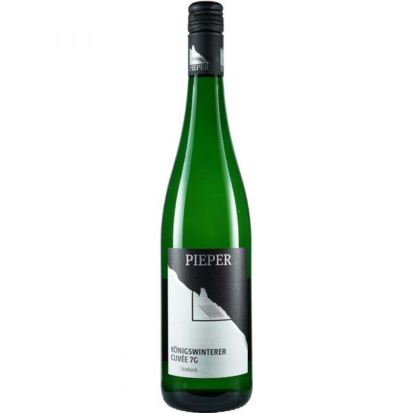 Weinflasche, Cuvée 7G feinherb, Weißwein, Weingut Pieper, Mittelrhein