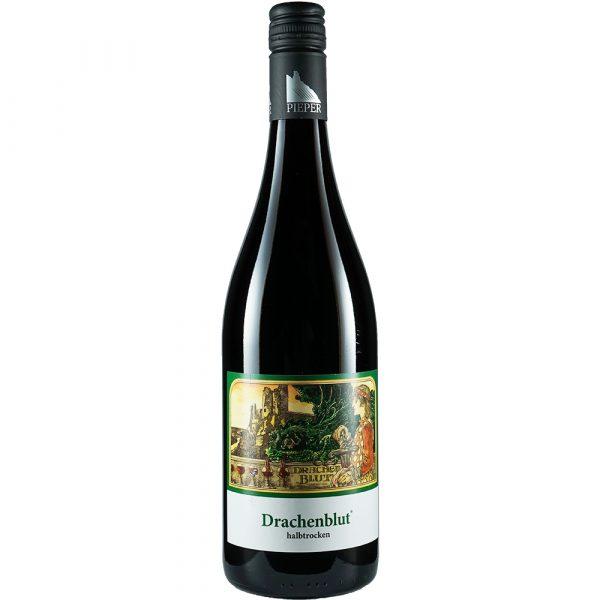 Weinflasche, Drachenblut halbtrocken, Rotwein, Weingut Pieper, Mittelrhein