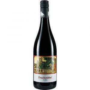 Weinflasche, Drachenblut trocken, Rotwein, Weingut Pieper, Mittelrhein