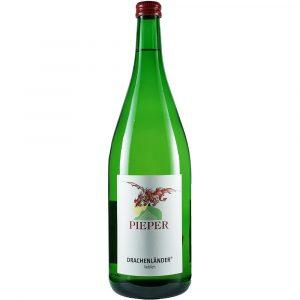 Weinflasche, Drachenländer lieblich, Weißwein, Weingut Pieper, Mittelrhein