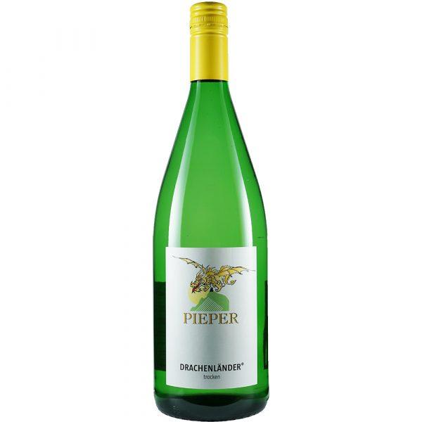 Weinflasche, Drachenländer trocken, Weißwein, Weingut Pieper, Mittelrhein