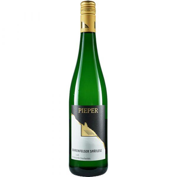 Weinflasche, Ehrenfelser Spätlese süß, Weißwein, Weingut Pieper, Mittelrhein