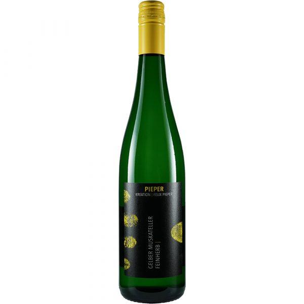 Weinflasche, Gelber Muskateller feinherb, Weißwein, Weingut Pieper, Mittelrhein