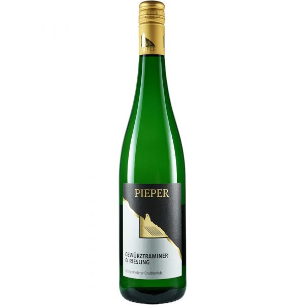 Weinflasche, Gewürztraminer und Riesling trocken, Weißwein, Weingut Pieper, Mittelrhein