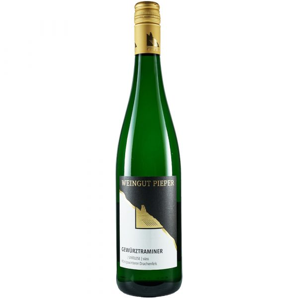 Weinflasche, Gewürztraminer Spätlese süß, Weißwein, Weingut Pieper, Mittelrhein