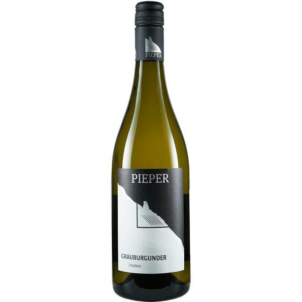 Weinflasche, Grauburgunder trocken, Weißwein, Weingut Pieper, Mittelrhein
