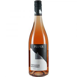 Weinflasche, Portugieser Weissherbst lieblich, Rosé, Weingut Pieper, Mittelrhein