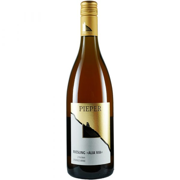 Weinflasche, Riesling Alia Via Orangewine trocken, Weißwein, Weingut Pieper, Mittelrhein