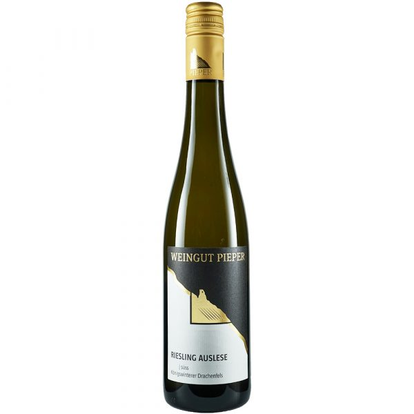 Weinflasche, Riesling Auslese süß, Weißwein, Weingut Pieper, Mittelrhein