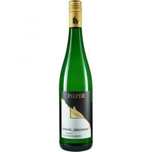 Weinflasche, Riesling Drachenlay Kabinett, Weißwein, Weingut Pieper, Mittelrhein