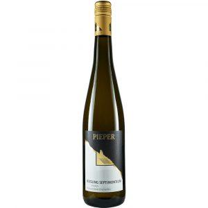 Weinflasche, Riesling Septimontium trocken, Weißwein, Weingut Pieper, Mittelrhein