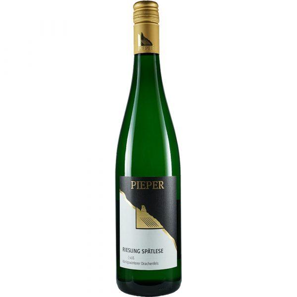 Weinflasche, Riesling Spätlese süß, Weißwein, Weingut Pieper, Mittelrhein