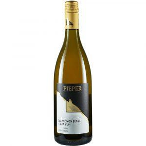 Weinflasche, Sauvignon Blanc Alia Via trocken, Weißwein, Weingut Pieper, Mittelrhein