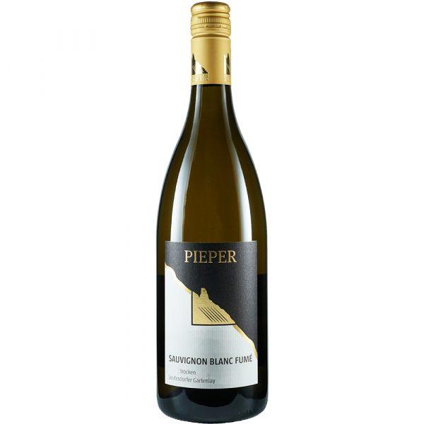 Weinflasche, Sauvignon Blanc Fumé trocken, Weißwein, Weingut Pieper, Mittelrhein